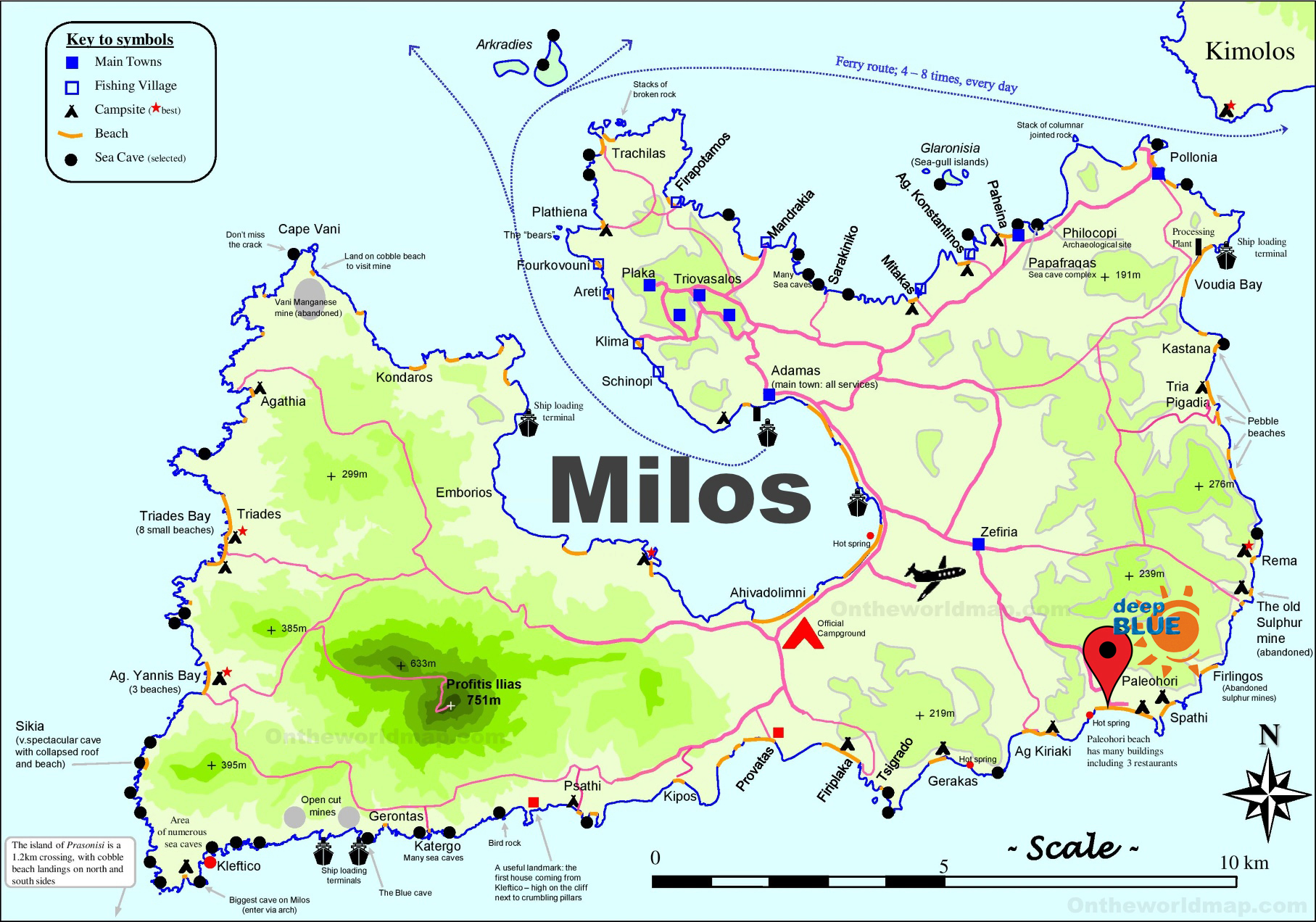 Tourist Map of Milos